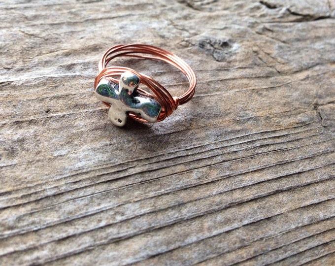 Wire Wrap Cross Ring