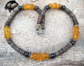 Mens baltic amber necklace, amber, dyed bone and coconut shell beads, handmade from earthy natural materials, tribal surfer style