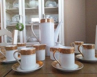 Beautiful 17 Piece Espresso Set by Hankyu Mokar, Japan Six Espresso cups and saucers
