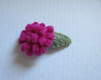 dark pink felt flower hair clip