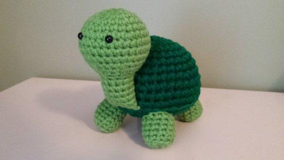 Turtle- Crochet Amigurumi Stuffed Animal Plush- Green