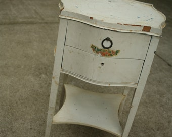 Night Stand, Vintage Painted End Table, 1930s Cabinet, Drawers, Bedroom, Living Room