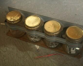 Parts Rack, Vintage Parts Holder, Vintage Jar Rack, Gray Steel, Glass Jars, Set of Four, Wall Hanging, Storage, Organization