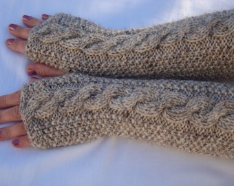 Fingerless Gloves.Mittens.Knit.Neutral Colors.Birch Tweed.Wool Fingerless  Gloves.Cabled.Beige Gray