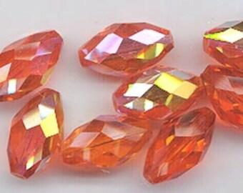 Twelve dazzling vintage W. German crystals - machine cut olives - 16 x 9 mm - hyacinth AB