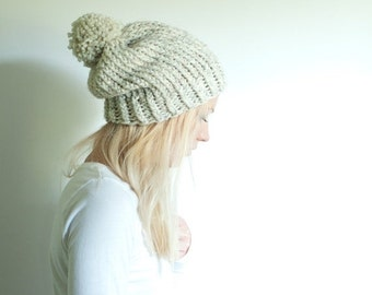 PRE-FALL SALE chunky knit womens slouchy hat beanie pom hat - wheat - the Solomon