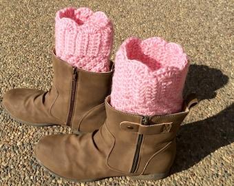 crochet boot cuffs, boot cuffs, boot toppers, boot socks, pink boot cuffs, fancy boot cuffs, dressy boot cuffs