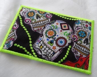 Quilted  Postcard - Handmade  Postcard - Day of the Dead Postcard - Patchwork  Postcard - Fabric  Postcard - Appliqué Postcard