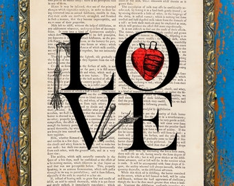 L O V E is Forever Macabre Collage Original Print on Unframed Upcycled Bookpage