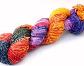 "Kettle Dyed Sock Yarn, Superwash Merino, Cashmere and Nylon Fingering Weight, in ""Winter Sunsets"""