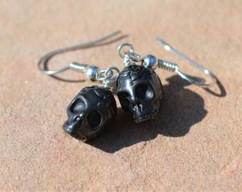Black Pewter Skull Earrings