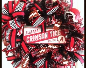 Deco Mesh University of Alabama Wreath - Bama Wreath - Alabama Wreath - Roll Tide - Alabama Decor - Crimson Tide Wreath - Door Decor