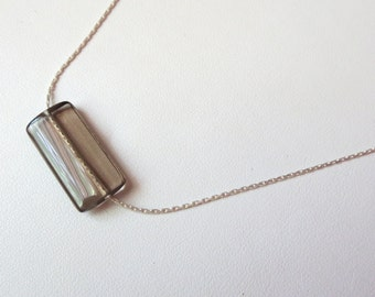 Smokey Quartz Rectangle Pendant on Sterling Silver