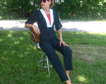 Vintage Black Red White Pants Jumpsuit High Waisted Tall Retro 80s style