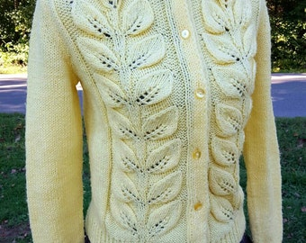 Vintage Yellow Cardigan Handmade Sweater Jumper Fall Dpring Colors Cozy Button Up