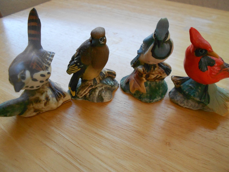 Vintage Bird Figurines Cardinal Bird Statues Home Decor