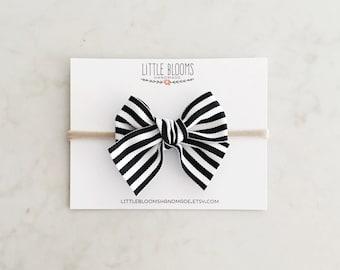 Black and White Striped Bow - nylon headband