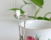 Tiny sweet sugar and candy tongs, vintage Swedish mini server, Nils Johan, shabby silver plate