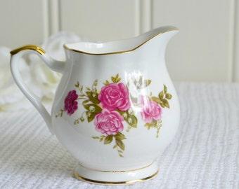 Dainty porcelain Royal Ascot Rose creamer, vintage English china, milk pitcher, rose pattern