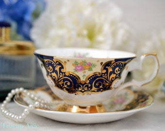 ON SALE Elizabethan RARE Wide Teacup and Saucer Balmoral, English Bone China Tea Cup Set, Wedding Gift, ca 1960