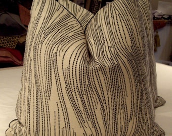 "Lee Jofa Groundworks Kelly Wearstler Ebony Oatmeal ""CURRENTS"" Custom Pillows Pair - Scalamandre Back - 20"" Square - 4 Pairs AVAILABLE - KWID"