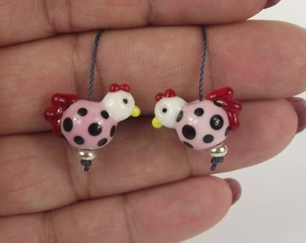 Cute little handmade glass lampwork chicken beads. earring bead pair. SRA
