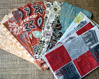 Decorative Napkins for Decoupage Destash: Paris, Floral, Paisley, Fall Colors, Mixed Assortment-- Set of 20
