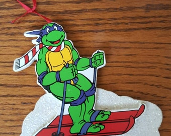 Vintage  TMNT Ornament  Leonardo Teenage Mutant Ninja Skier Tree Ornament 1990's