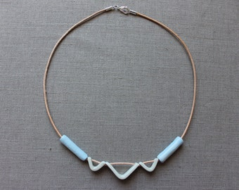 Handmade ceramic blue and white short necklace - made to order