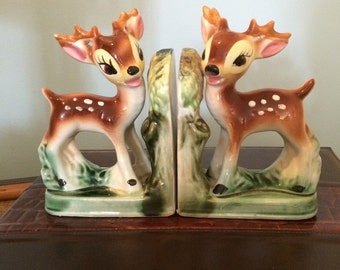 Vintage Ceramic Deer Bookends Made in Japan Porcelain Doe Bookends Mid Century Home Decor