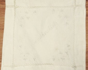 ANTIQUE Ecru HANDKERCHEIF POUCH // Linen