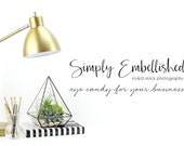 Styled Stock Photography | Styled Desktop | Gold Lamp on Desktop with Succulents | Product Photography