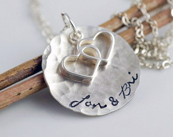 Personalized Necklace - Heart Necklace - Hand Stamped Jewelry - Name Necklace - Personalized Jewelry - Mothers Necklace