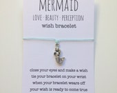 wish bracelet, mermaid anklet, beach jewelry, mermaid jewelry, mermaid bracelet, friendship bracelet, beach bracelet, bridesmaid gift