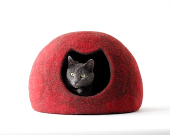 Cat bed - red cat cave - felted wool cat house - red brown cat bed - made to order