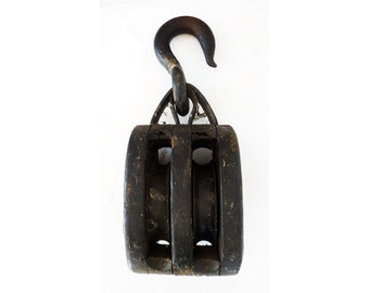 Giant Primitive Wood Pulley Cast Iron Hanger