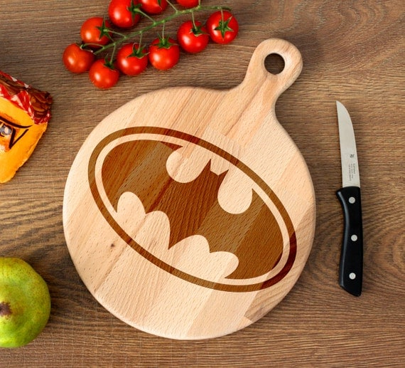 Comic Superhero cutting board -  Batman Wooden Cutting Board Laser Engraved - Personalized Engraved Cutting Board
