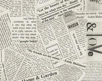 "Modern 108"" Quilt Backs - 108"" Wide - Newsprint - Windham Fabrics - 41946-4 - 1/2 Yard"