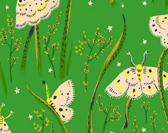 Sleeping Porch - Moths in Jade - COTTON LAWN - Heather Ross for Windham Fabrics - 42210-15 - 1/2 yard
