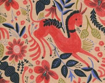 Les Fleurs - Folk Horse in Coral - CANVAS - Anna Bond for Cotton + Steel - 8011-12 - 1/2 yd