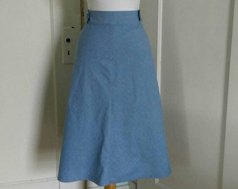 Blue Chambray Midi Wrap and Button Womens/ Juniors Skirt