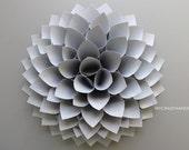 paper dahlia . 10 1/8'' dahlia wall decor. origami flower . wedding gift . . origami gifts. dahlia door wreath -texture silver gray