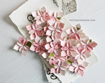 30 wedding petals | origami flowers | wedding flowers || paper flowers || table decorations || origami petals -pink rose