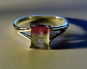 Watermelon Tourmaline Facet Sterling Silver Ring size 7.5