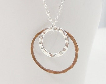 Mixed Metal Necklace - Simple Everyday Jewelry - Copper and Silver - Eternity Circles - Double Circles - Minimalist - modern jewelry