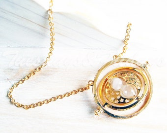 Small hourglass necklace with long chain, time turning gold necklace, fandom jewelry, book jewelry