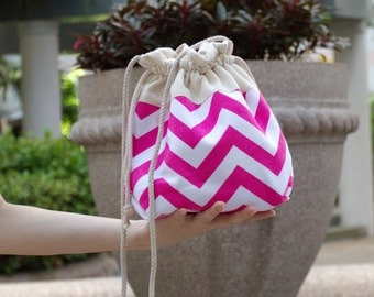 3 in 1 handbag / shoulder bag / crossbody bag ~ Hot pink chevron (A25)