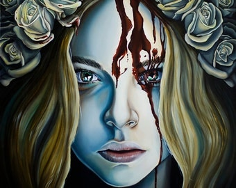 Limited Edition Carrie Inspired Horror Bloody Portrait White Roses A3 Art Print