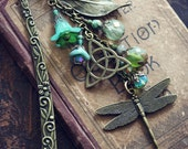 CELTIC DRAGONFLY Victorian Heirloom Metal and Beaded Bookmark, Ready to Ship