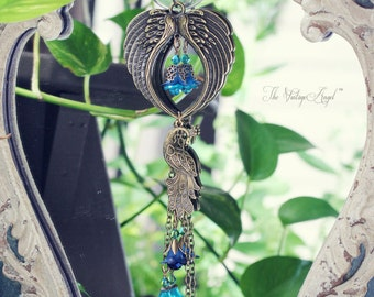 GUARDIAN ANGEL and Peacock Window Charm, Angel Blessing, Housewarming Gift, Made to order